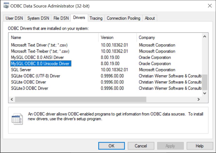مشخصات درایور MYSQL در ویندوز
