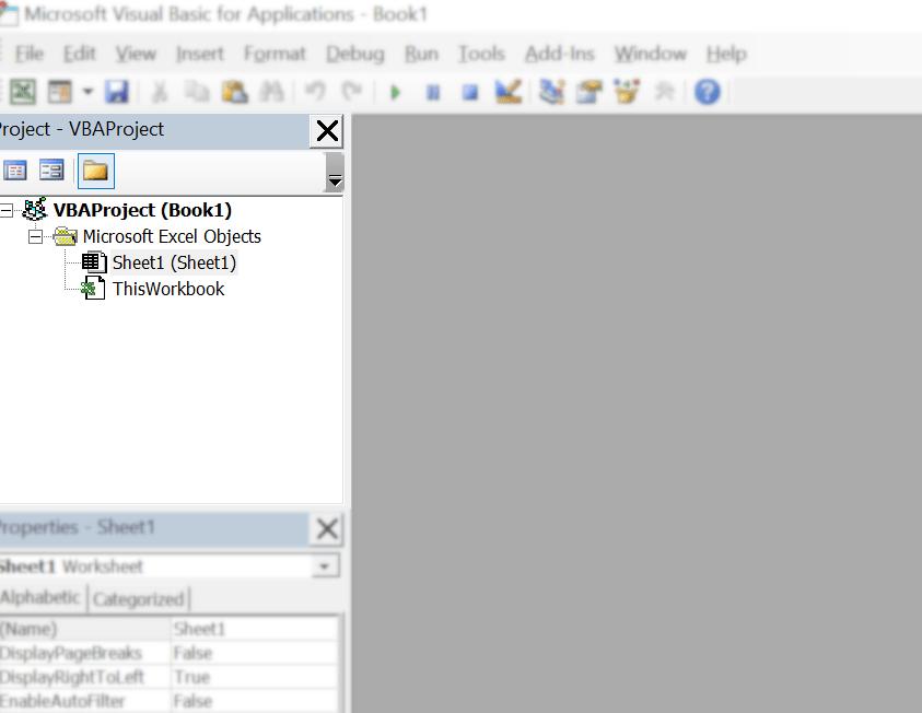 پنجره مرور پروژه یا Project Explorer در اکسل