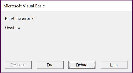 خطای Overflow در VBA